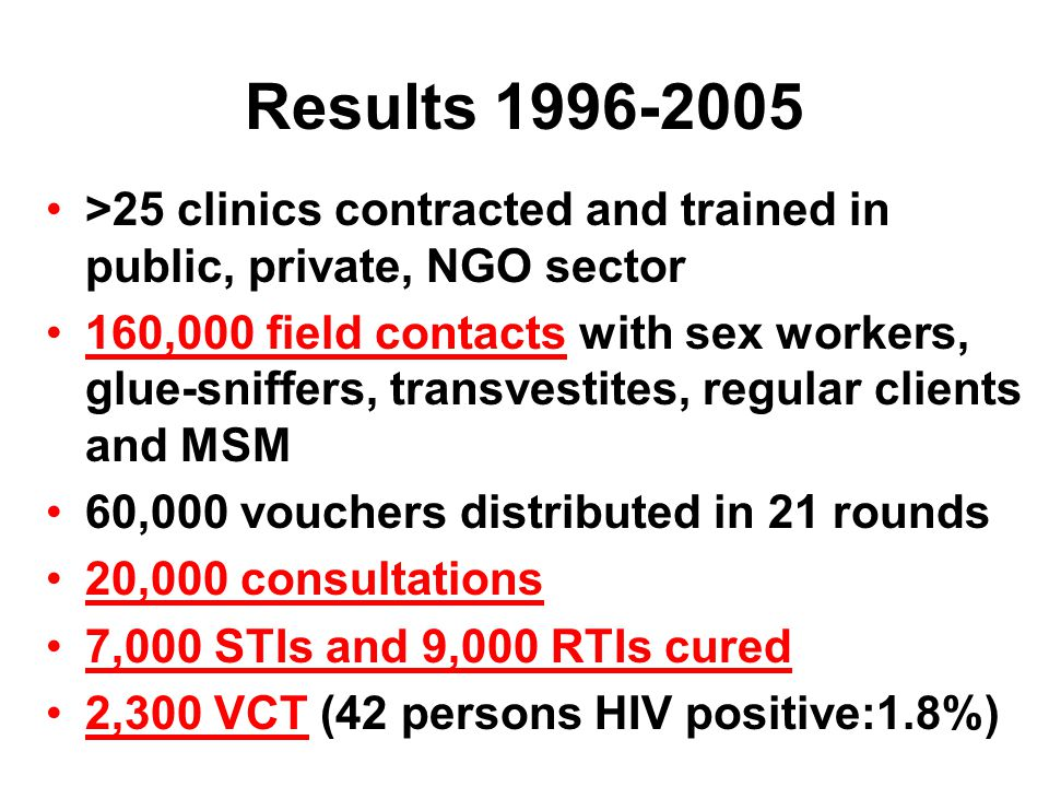 Results sex workers Managua 1996-2005 10,000 consultations, half to young sex workers, including young glue-sniffers Exogenous changes in frequency of voucher distribution rounds (see next slide), resulting from irregular financial flows, and with no changes in other possible explanators, allows to attribute observed STI reduction to program (published in AJPH 2006;96:7-9)