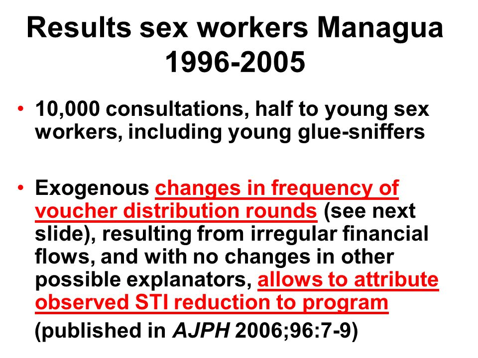 Reduction of syphilis and trichomonas in sex workers of Managua in 21 rounds of voucher distribution (1996-2005)