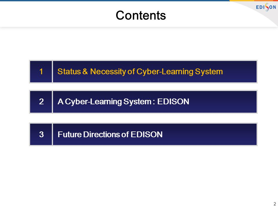 2 Contents 1 Status & Necessity of Cyber-Learning System 2 A Cyber-Learning System : EDISON 3 Future Directions of EDISON