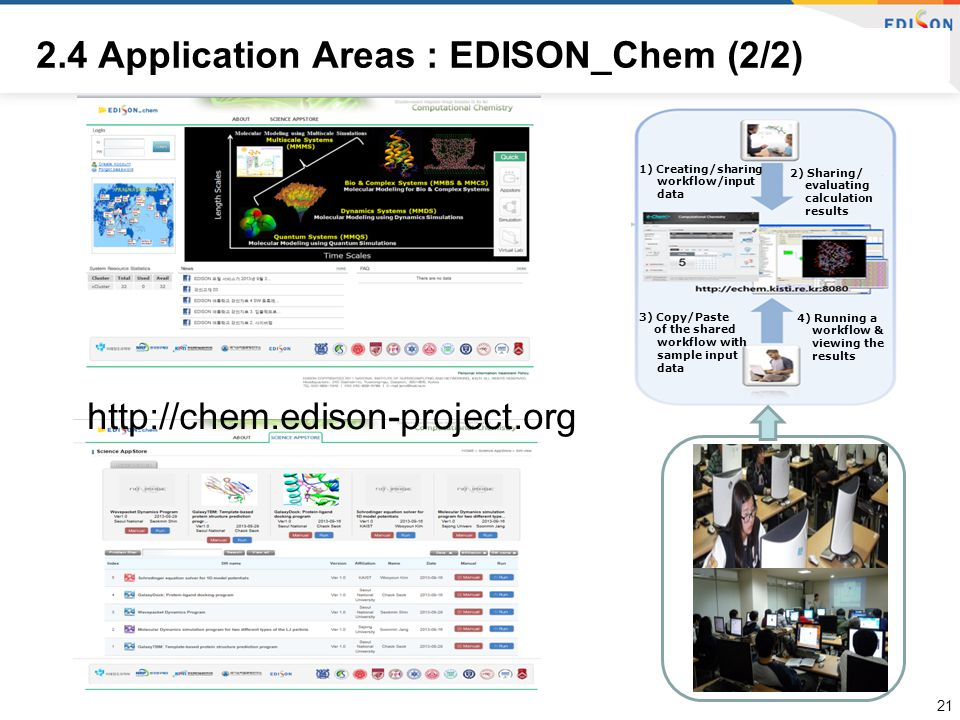 1) Creating/sharing workflow/input data 2) Sharing/ evaluating calculation results 3) Copy/Paste of the shared workflow with sample input data 4) Running a workflow & viewing the results 2.4 Application Areas : EDISON_Chem (2/2) 21 http://chem.edison-project.org
