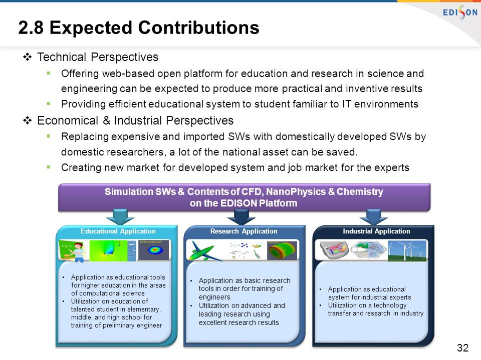 2.8 Expected Contributions  Technical Perspectives  Offering web-based open platform for education and research in science and engineering can be ex