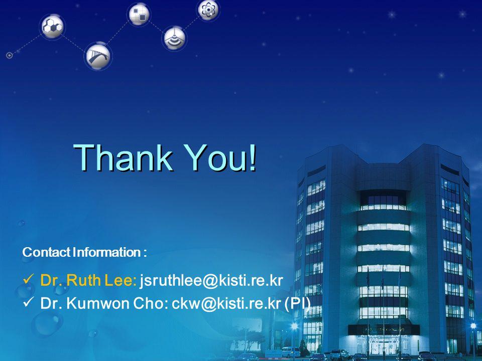 Thank You! Contact Information : Dr. Ruth Lee: jsruthlee@kisti.re.kr Dr. Kumwon Cho: ckw@kisti.re.kr (PI)