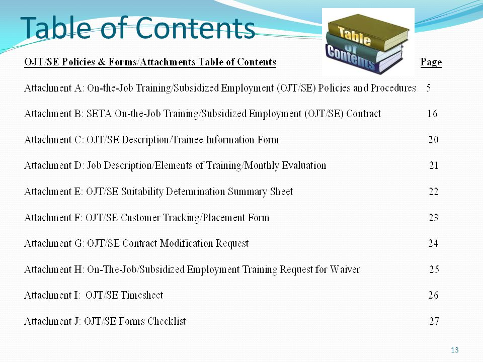 Table of Contents 13