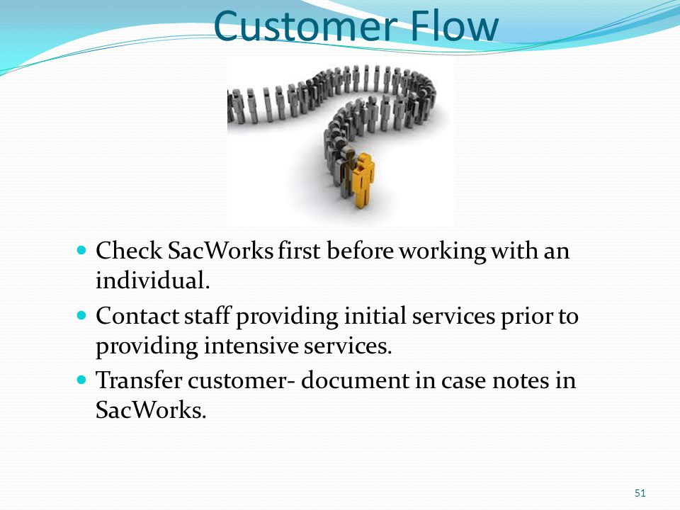 Customer Flow Check SacWorks first before working with an individual. Contact staff providing initial services prior to providing intensive services.