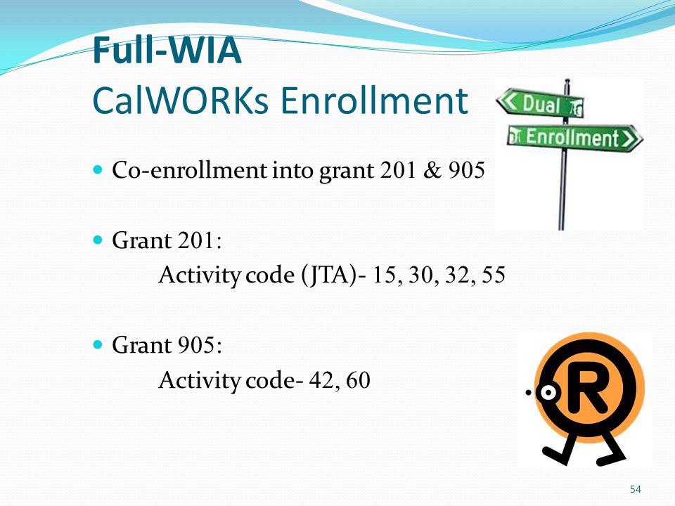 Full-WIA WIA DW Grant 501: Activity code (JTA)- 15, 30, 32, 55, 81 55