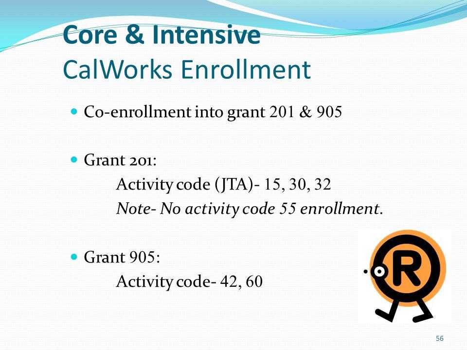 Core Only CalWorks Enrollment Co-enrollment into grant 201 & 906 Grant 201: Activity code (JTA)- 15, 30, 32 Grant 906: Activity code- 41, 60 57