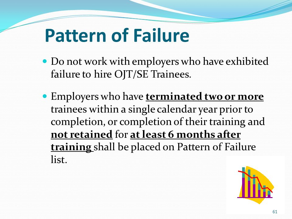 Pattern of Failure Do not work with employers who have exhibited failure to hire OJT/SE Trainees. Employers who have terminated two or more trainees w
