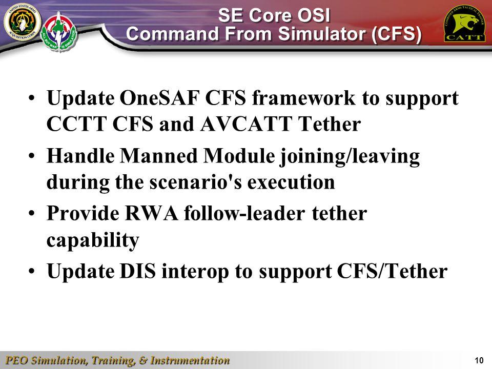 PEO Simulation, Training, & Instrumentation 10 SE Core OSI Command From Simulator (CFS) Update OneSAF CFS framework to support CCTT CFS and AVCATT Tet