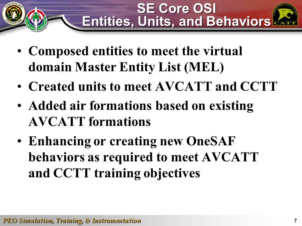 PEO Simulation, Training, & Instrumentation 7 SE Core OSI Entities, Units, and Behaviors Composed entities to meet the virtual domain Master Entity Li