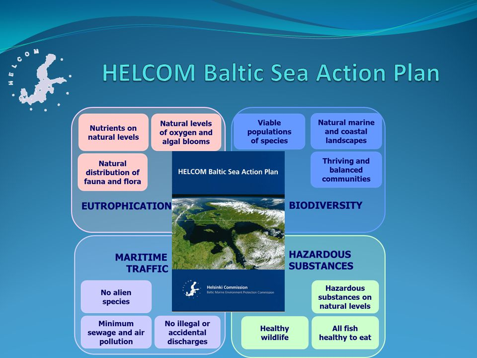 2010 Moscow HELCOM Ministerial Meeting 9 NIPs for Eutrophication and Hazardous Substances Segments of the BSAP Overall status of implementation of the HELCOM BSAP 2011 HELCOM High-level segment Outlook for implementation: good examples, need for further action 2013 HELCOM Ministerial Meeting to assess progress in reaching the targets and efficiency of actions to devise additional actions, if needed