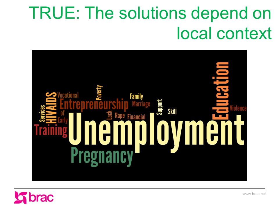 www.brac.net TRUE: The solutions depend on local context