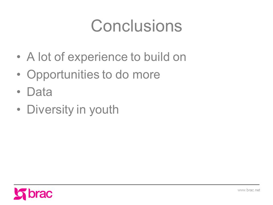www.brac.net Conclusions A lot of experience to build on Opportunities to do more Data Diversity in youth