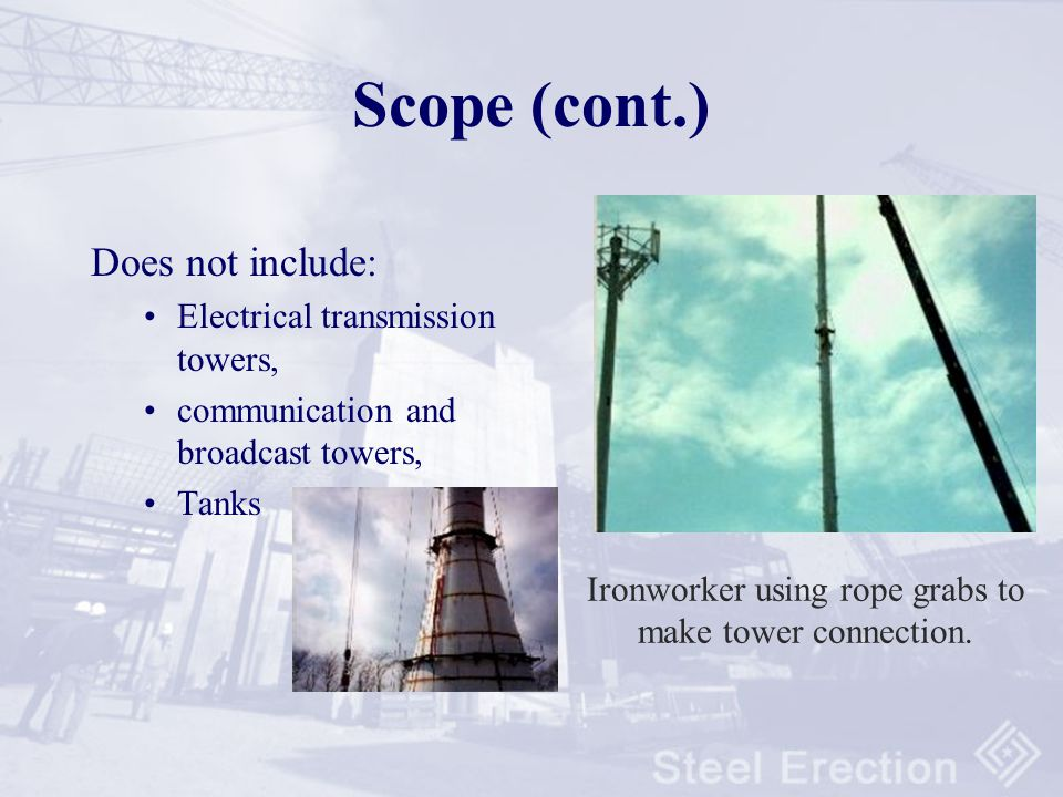 1926.750 Scope and Application (cont) Application: –Hoisting –Connecting –Welding –Guying/Bracing –Bolting –Plumbing/Rigging –Steel joists and metal b