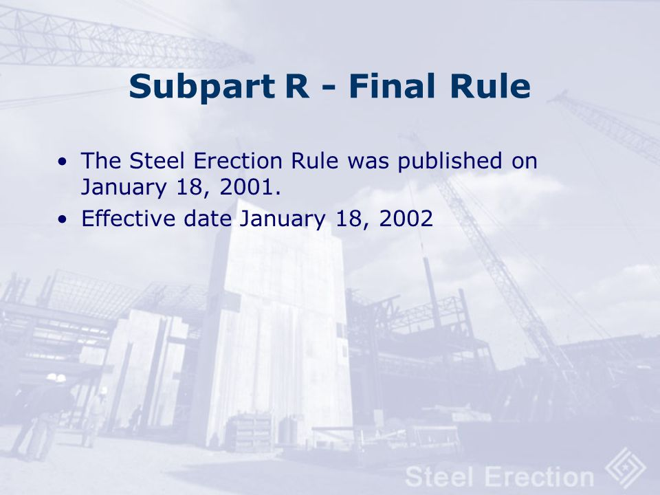 Key Provisions Of The Revised Subpart R Standard Requires fall protection training for all employees exposed to fall hazards Allows a Controlled Decki