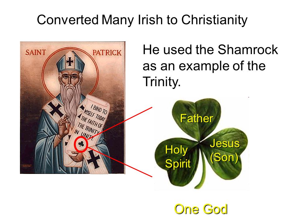 Converted Many Irish to Christianity He used the Shamrock as an example of the Trinity. Father Jesus (Son) Holy Spirit One God
