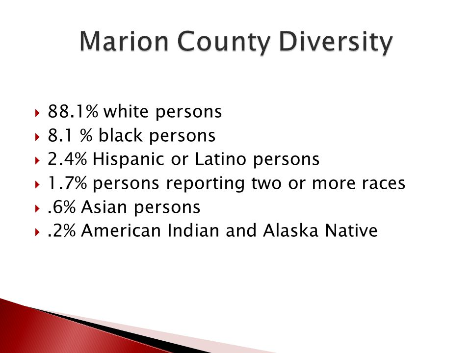  88.1% white persons  8.1 % black persons  2.4% Hispanic or Latino persons  1.7% persons reporting two or more races .6% Asian persons .2% Ameri