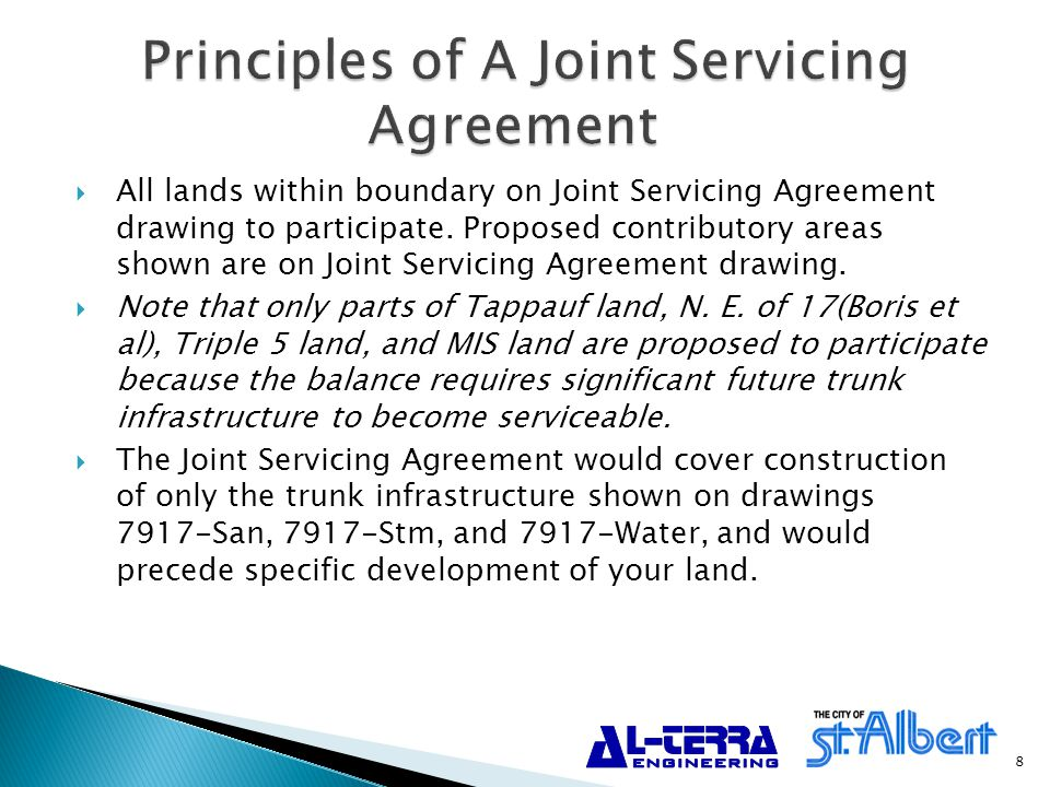  Your own separate development agreement would still be required for subdivision and development of your land covering on-site construction and off-site levies, supercharges, etc.