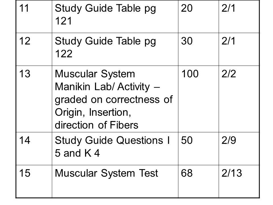 11Study Guide Table pg 121 202/1 12Study Guide Table pg 122 302/1 13Muscular System Manikin Lab/ Activity – graded on correctness of Origin, Insertion
