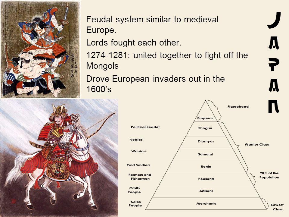JapanJapan Feudal system similar to medieval Europe.