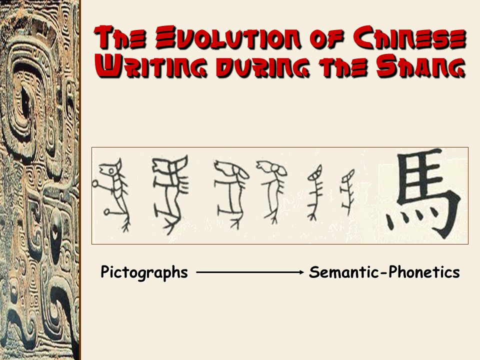 The Evolution of Chinese Writing during the Shang PictographsSemantic-Phonetics