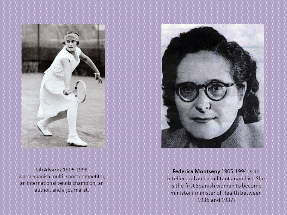 Lili Alvarez 1905-1998 was a Spanish multi- sport competitor, an international tennis champion, an author, and a journalist.