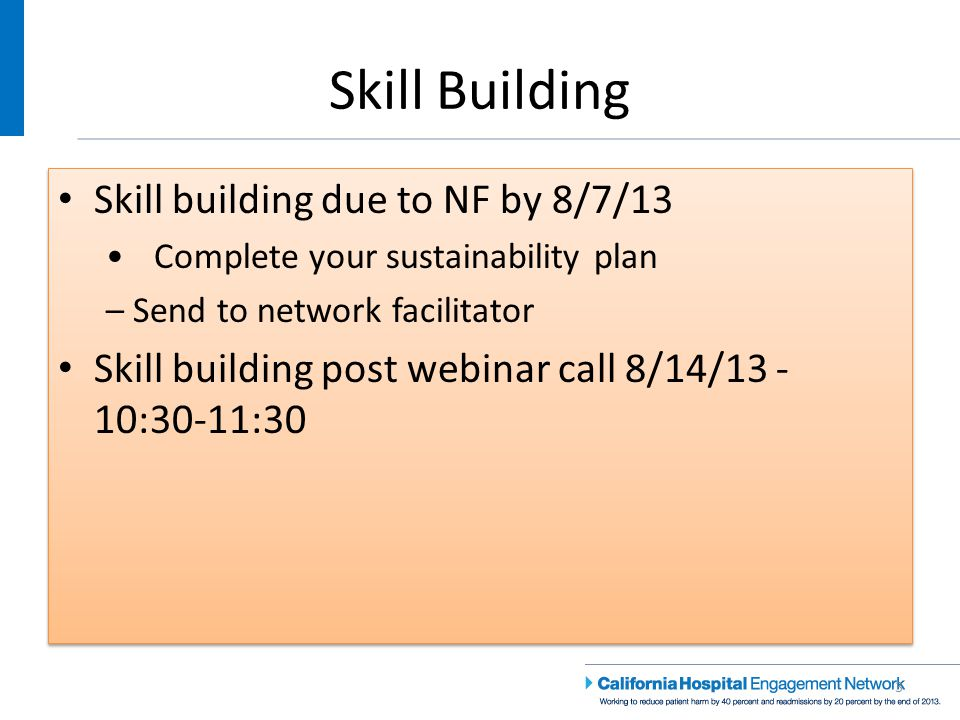 Sustainability – Skill Building 24 Skill building due to NF by 8/7/13 Develop a sustainability plan – Send to network facilitator Skill building post webinar call 8/14/13, 10:30- 11:30 Skill building due to NF by 8/7/13 Develop a sustainability plan – Send to network facilitator Skill building post webinar call 8/14/13, 10:30- 11:30