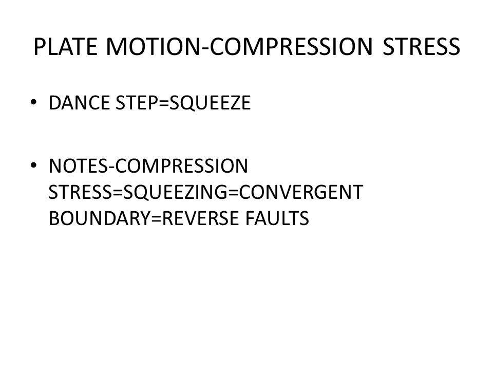 PLATE MOTION-COMPRESSION STRESS DANCE STEP=SQUEEZE NOTES-COMPRESSION STRESS=SQUEEZING=CONVERGENT BOUNDARY=REVERSE FAULTS
