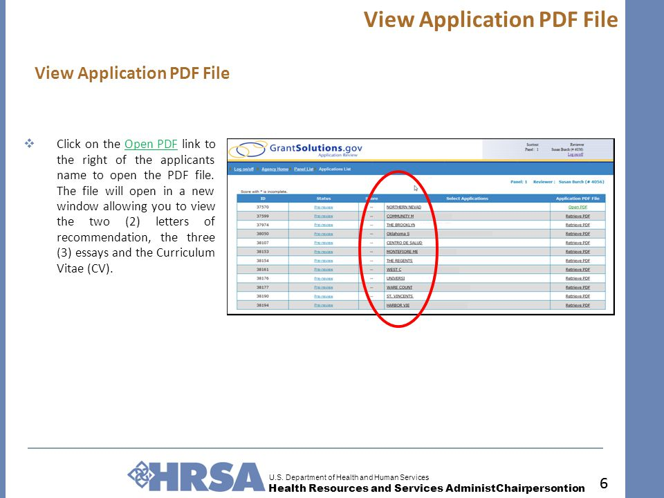 U.S. Department of Health and Human Services Health Resources and Services AdministChairpersontion 6 View Application PDF File 6  Click on the Open P