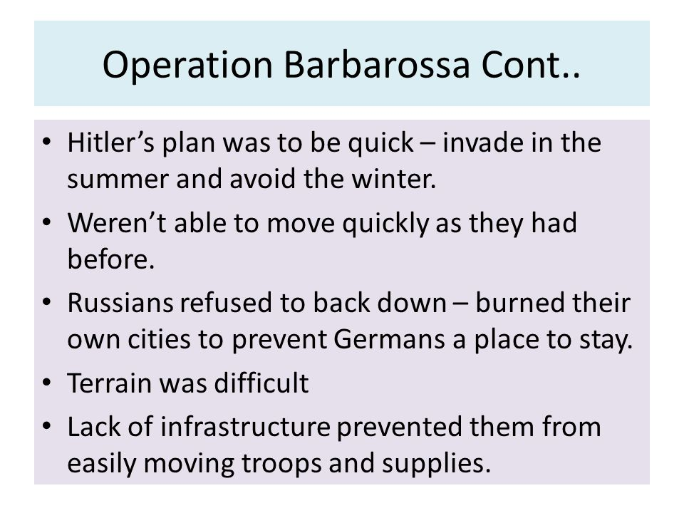 Operation Barbarossa Cont..