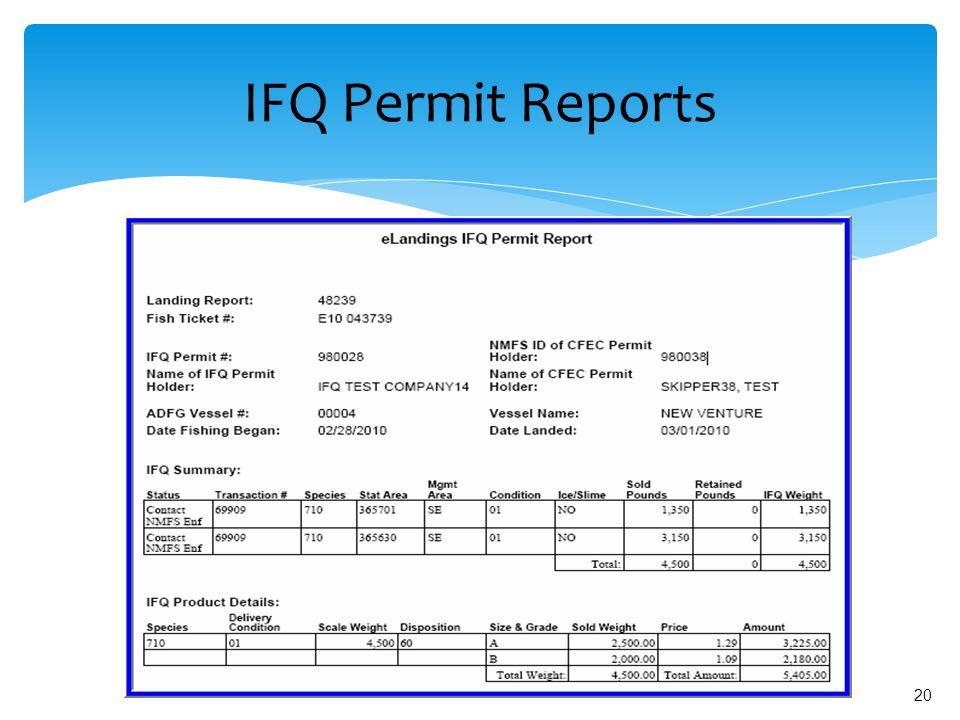 20 IFQ Permit Reports