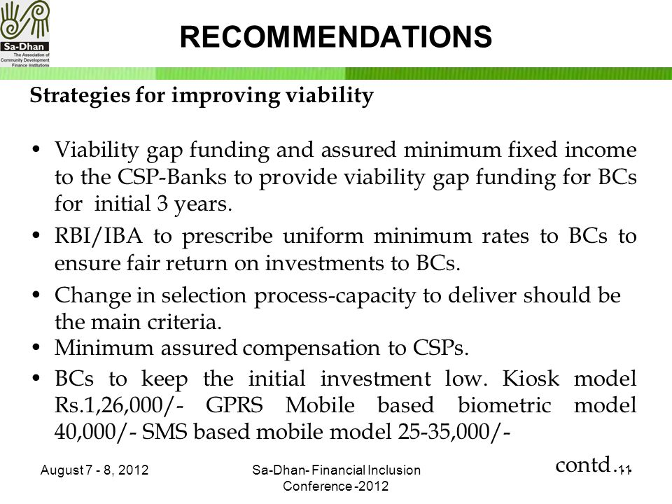 RECOMMENDATIONS Strategies for improving viability Viability gap funding and assured minimum fixed income to the CSP-Banks to provide viability gap funding for BCs for initial 3 years.