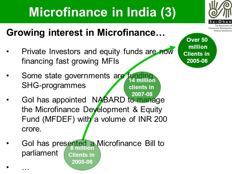 Such challenges essentially emanate from the influence of various vested interest groups (including local money lenders and others), who, in the guise of appearing to help the poor, are in fact denying them access to tailor made financial services They are perhaps even forcing the poor again into being dependent on local informal sector money lenders, who charge as high as 80-100% effective interest rates (EIR) So, such challenges have to be countered factually and maturely.