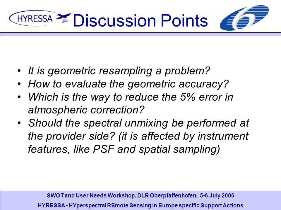 SWOT and User Needs Workshop, DLR Oberpfaffenhofen, 5-6 July 2006 HYRESSA - HYperspectral REmote Sensing in Europe specific Support Actions Discussion Points It is geometric resampling a problem.