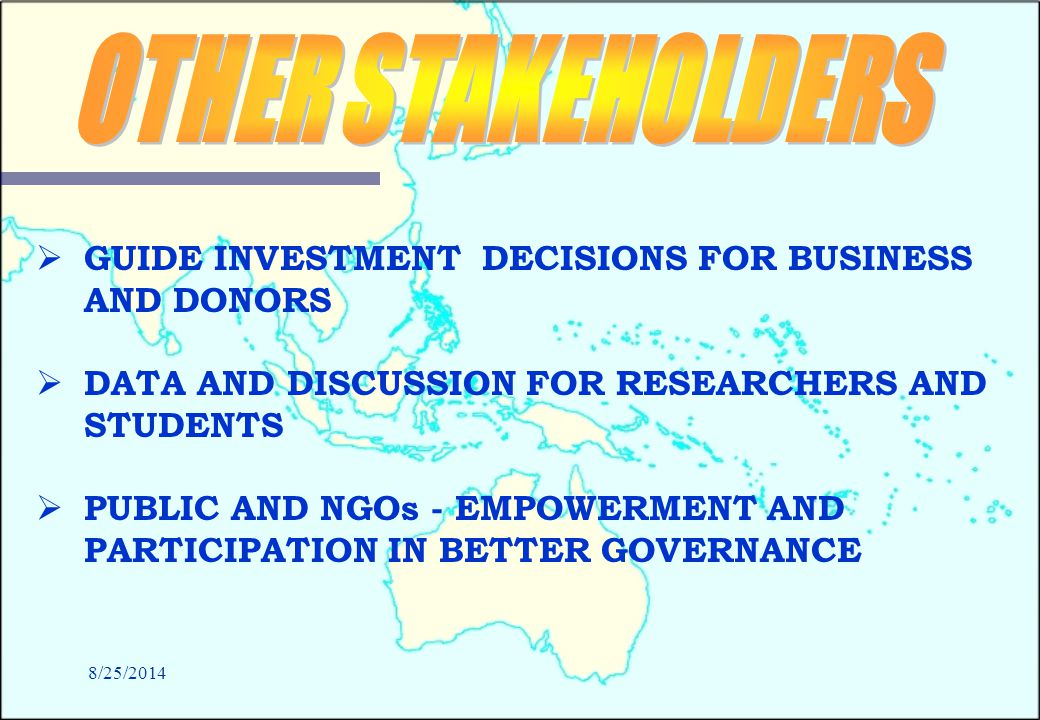 8/25/2014   GUIDE INVESTMENT DECISIONS FOR BUSINESS AND DONORS   DATA AND DISCUSSION FOR RESEARCHERS AND STUDENTS   PUBLIC AND NGOs - EMPOWERMENT AND PARTICIPATION IN BETTER GOVERNANCE