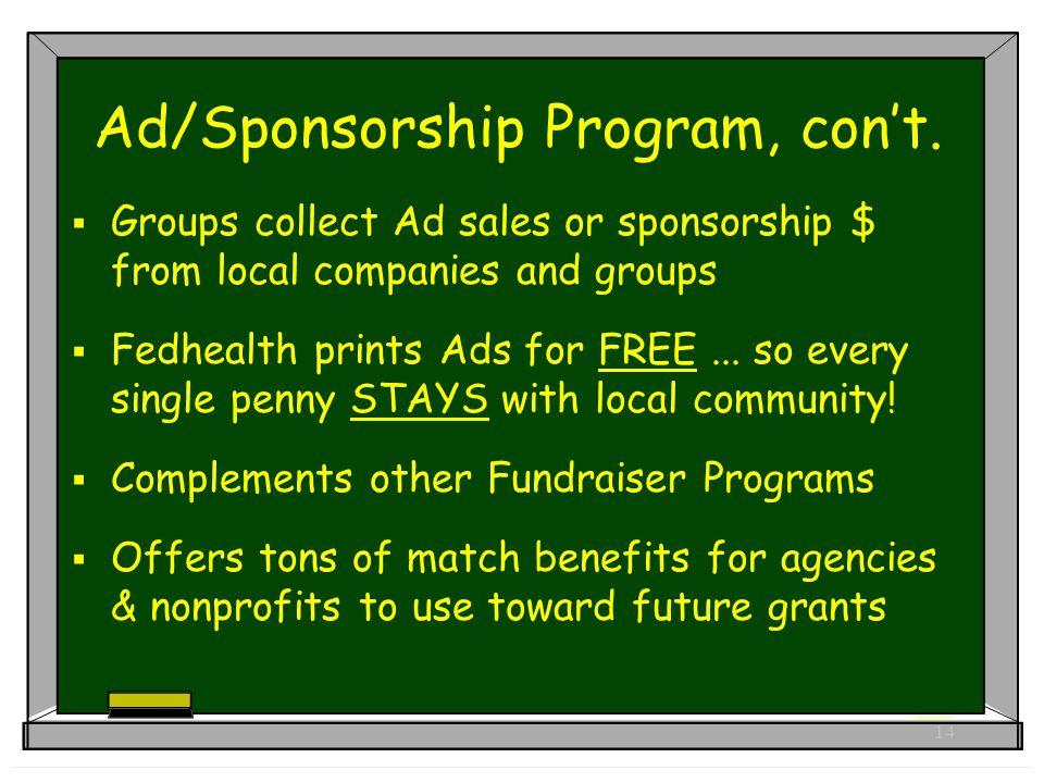 14 Ad/Sponsorship Program, con't.