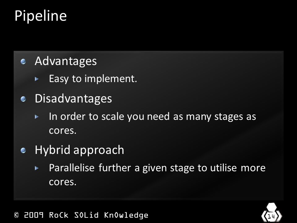 © 2009 RoCk SOLid KnOwledge 14 Pipeline Advantages Easy to implement.