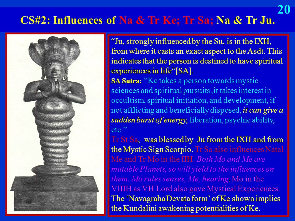 "CS#2: Influences of Na & Tr Ke; Tr Sa; Na & Tr Ju. 19 ""Ju, strongly influenced by the Su, is in the IXH, from where it casts an exact aspect to the As"