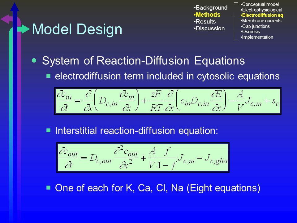 Model Design System of Reaction-Diffusion Equations  electrodiffusion term included in cytosolic equations  Interstitial reaction-diffusion equation:  One of each for K, Ca, Cl, Na (Eight equations) Background Methods Results Discussion Conceptual model Electrophysiological Electrodiffusion eq Membrane currents Gap junctions Osmosis Implementation