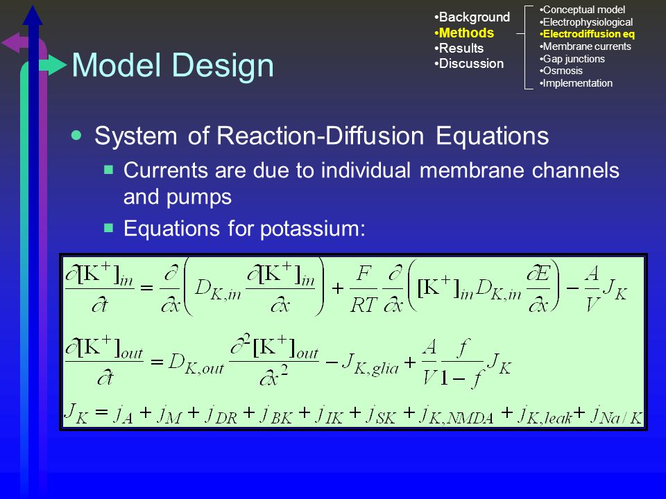 Model Design System of Reaction-Diffusion Equations  Currents are due to individual membrane channels and pumps  Equations for potassium: Background Methods Results Discussion Conceptual model Electrophysiological Electrodiffusion eq Membrane currents Gap junctions Osmosis Implementation