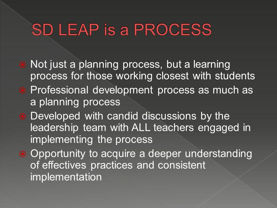  Not just a planning process, but a learning process for those working closest with students  Professional development process as much as a planning process  Developed with candid discussions by the leadership team with ALL teachers engaged in implementing the process  Opportunity to acquire a deeper understanding of effectives practices and consistent implementation