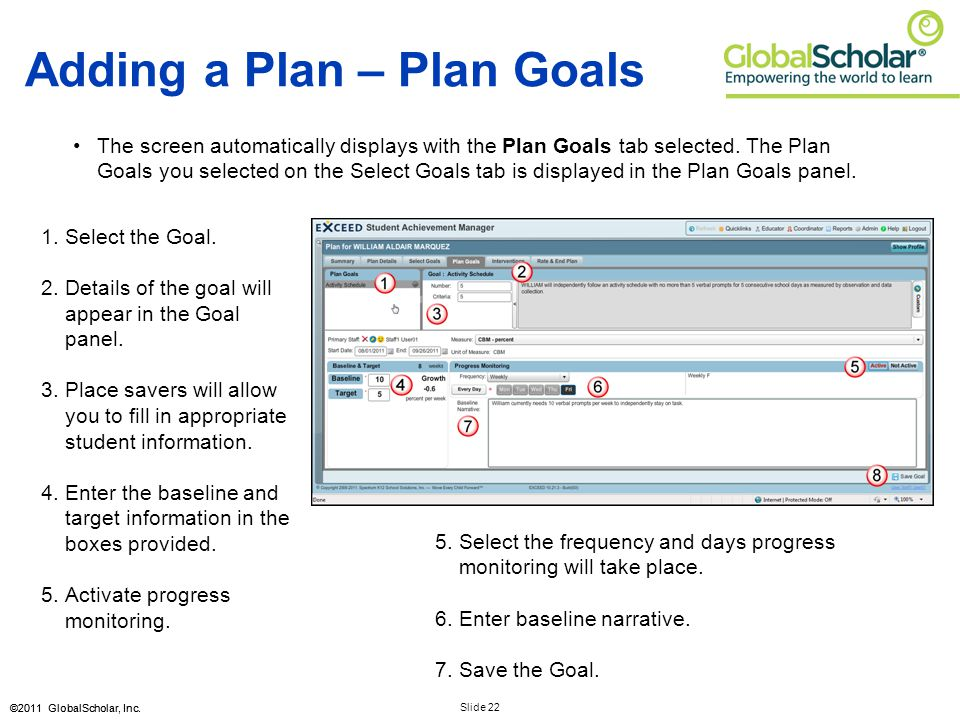 Slide 22 ©2011 GlobalScholar, Inc. Adding a Plan – Plan Goals The screen automatically displays with the Plan Goals tab selected. The Plan Goals you s