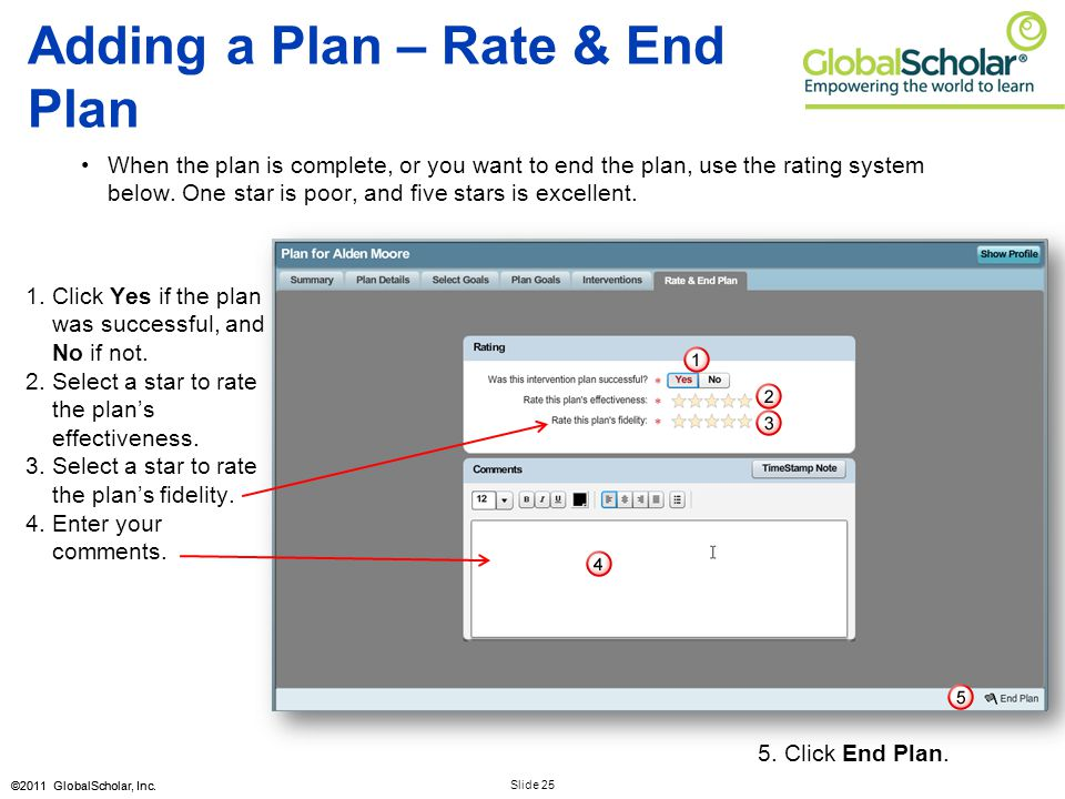 Slide 25 ©2011 GlobalScholar, Inc. 1.Click Yes if the plan was successful, and No if not. 2.Select a star to rate the plan's effectiveness. 3.Select a