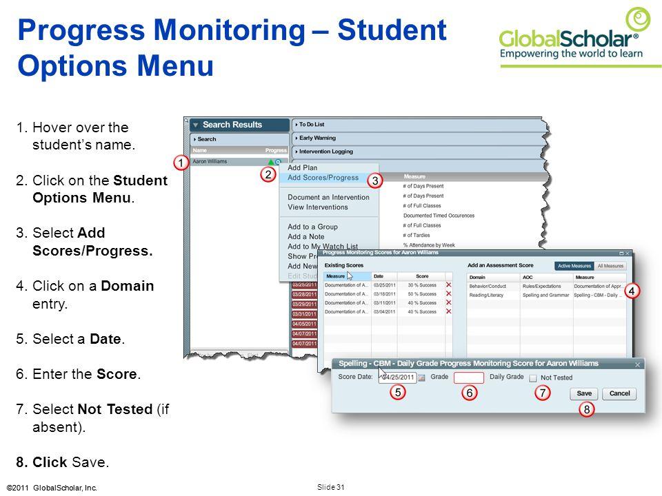 Slide 31 ©2011 GlobalScholar, Inc. Progress Monitoring – Student Options Menu 1.Hover over the student's name. 2.Click on the Student Options Menu. 3.
