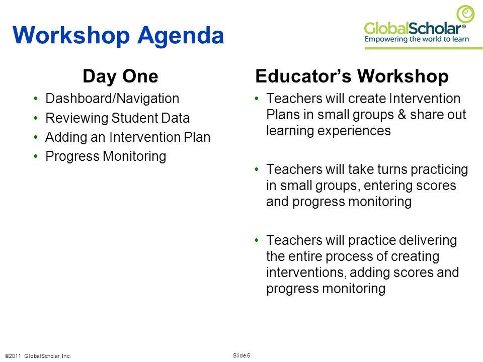 Slide 5 ©2011 GlobalScholar, Inc. Workshop Agenda Day One Dashboard/Navigation Reviewing Student Data Adding an Intervention Plan Progress Monitoring
