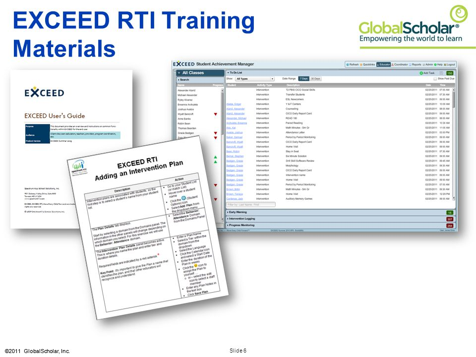 Slide 6 ©2011 GlobalScholar, Inc. EXCEED RTI Training Materials