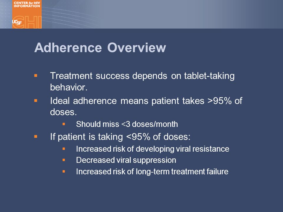 Adherence Overview  Treatment success depends on tablet-taking behavior.