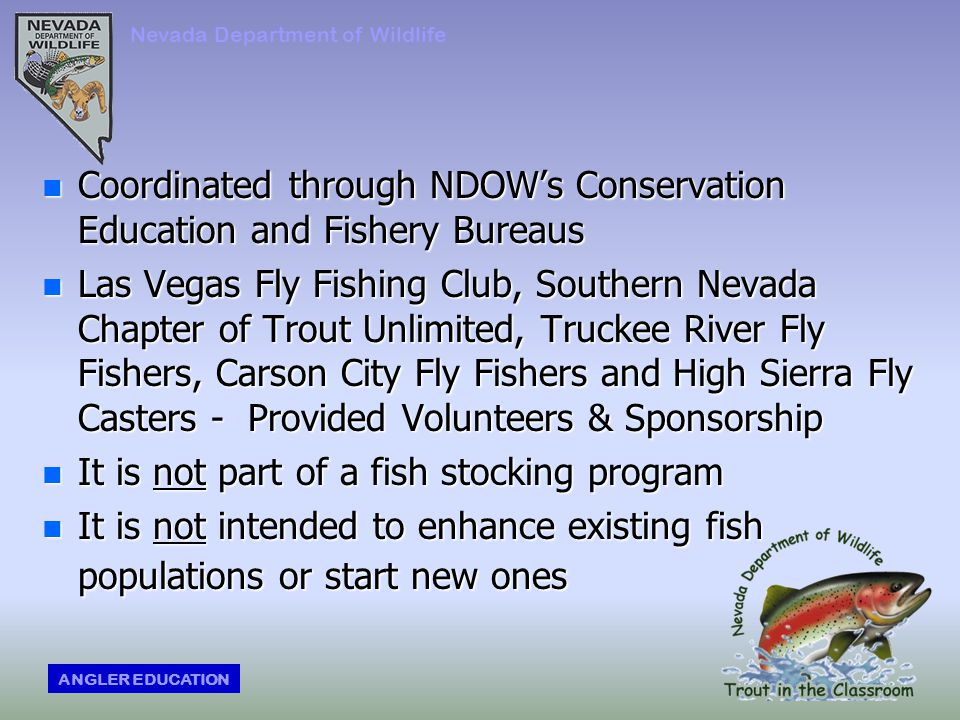 n Coordinated through NDOW's Conservation Education and Fishery Bureaus n Las Vegas Fly Fishing Club, Southern Nevada Chapter of Trout Unlimited, Truckee River Fly Fishers, Carson City Fly Fishers and High Sierra Fly Casters - Provided Volunteers & Sponsorship n It is not part of a fish stocking program n It is not intended to enhance existing fish populations or start new ones Nevada Department of Wildlife ANGLER EDUCATION