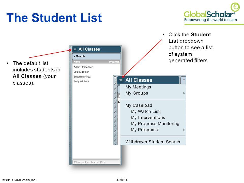 Slide 15 ©2011 GlobalScholar, Inc.