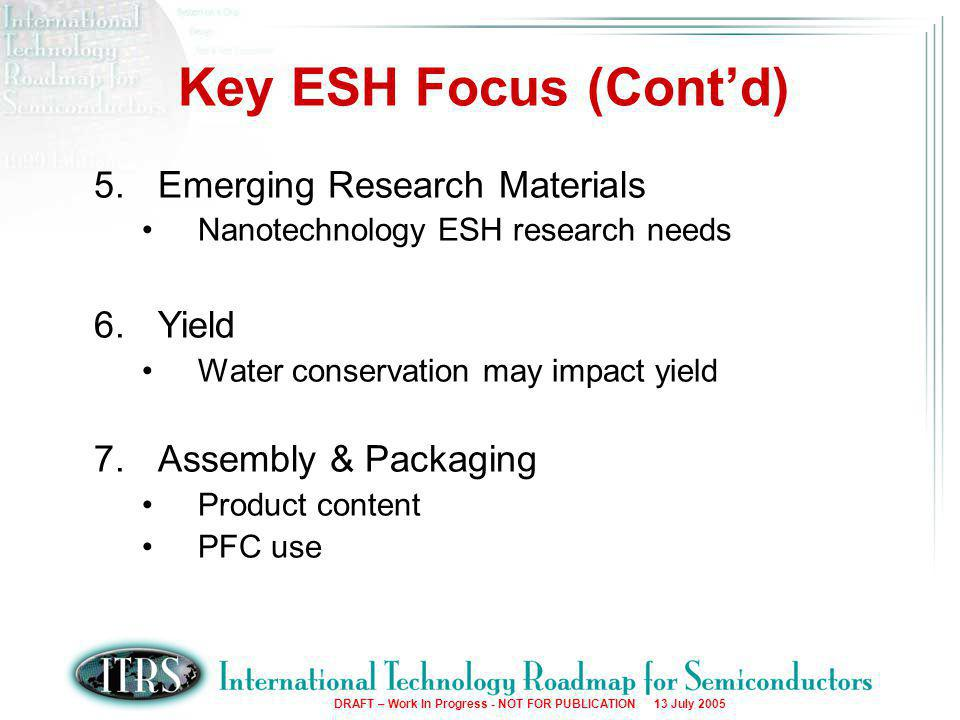 12 DRAFT – Work In Progress - NOT FOR PUBLICATION 13 July 2005 Key ESH Focus (Cont'd) 5.Emerging Research Materials Nanotechnology ESH research needs 6.Yield Water conservation may impact yield 7.Assembly & Packaging Product content PFC use