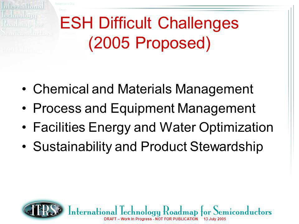 5 DRAFT – Work In Progress - NOT FOR PUBLICATION 13 July 2005 Chemical and Materials Management –New chemical assessment –Chemical data collection –Chemical exposure management